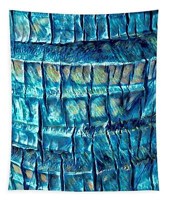 Teal Palm Bark Tapestry