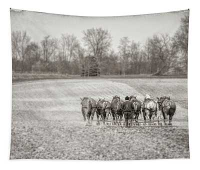 Team Of Six Horses Tilling The Fields Tapestry