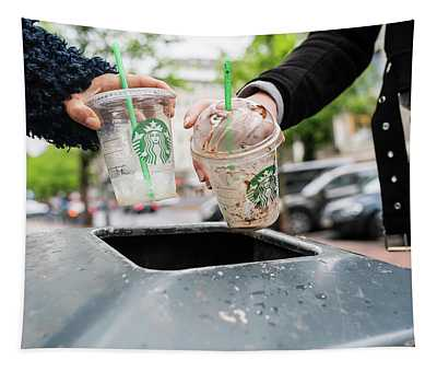 Teenagers Throw Plastic Cups Into Dustbin Germany Tapestry
