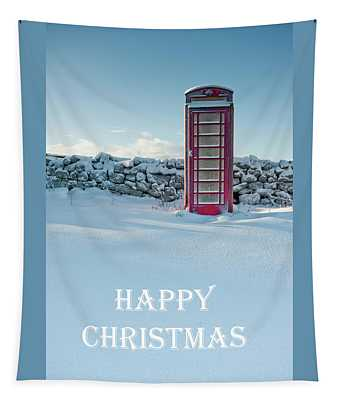 Telephone Box Snow - Happy Christmas I Tapestry