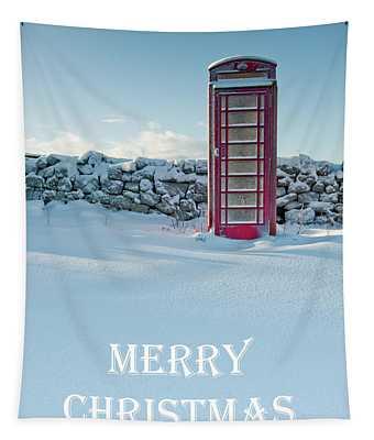 Telephone Box Snow - Merry Christmas I Tapestry