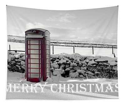 Telephone Box Snow - Merry Christmas II Tapestry