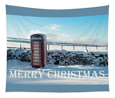 Telephone Box Snow - Merry Christmas IIi Tapestry