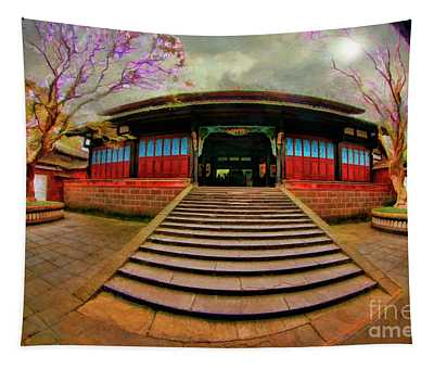 Temple At Dujiangyan Irrigation System Tapestry