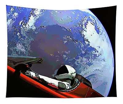 Tesla Roadster, Starman, Planet Earth Outer Space Image Tapestry