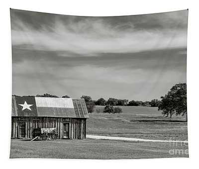 Texas Barn In Black And White Tapestry