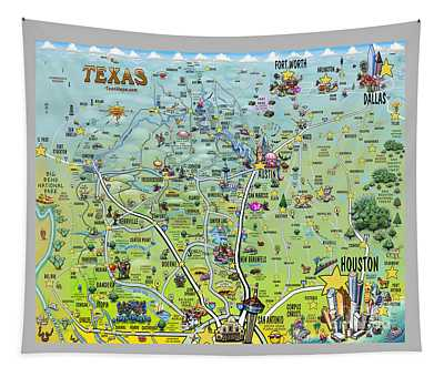 Texas Big Fun Map Tapestry