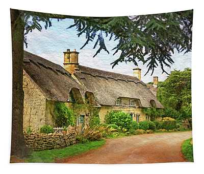 Thatched Roof Lane Tapestry