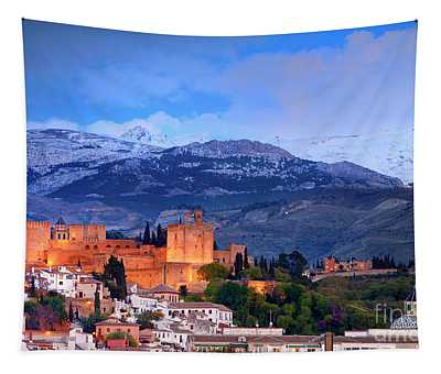 The Alhambra, Albaicin, At Blue Hour Tapestry