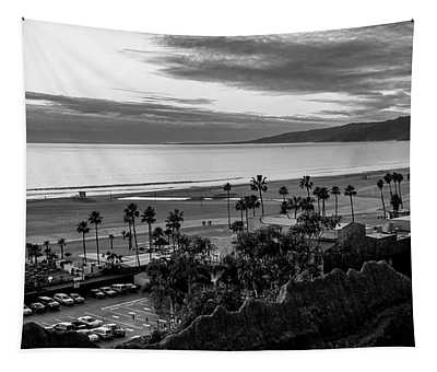 The Bay At Dusk - B And W Tapestry
