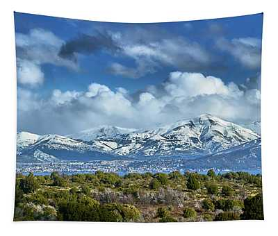 The City Of Bariloche And Landscape Of Snowy Mountains In The Argentine Patagonia Tapestry