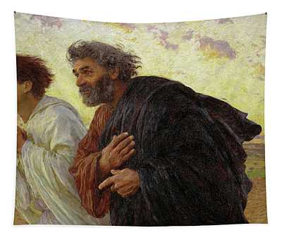 The Disciples Peter And John Running To The Tomb On The Morning Of The Resurrection, 1898 Tapestry