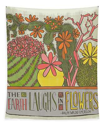 The Earth Laughs In Flowers Ralph Waldo Emerson Quote Tapestry
