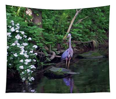 The Great Blue Heron - Impressionism Tapestry
