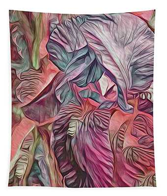The Lines Of An Iris Magenta Tone Tapestry