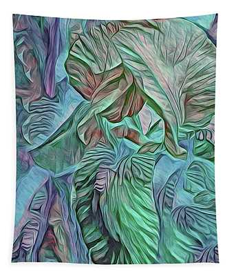 The Lines Of An Iris Turq And Blue Tones Tapestry