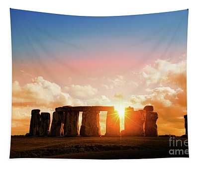 The Magic Of Stonehenge At Sunset Tapestry