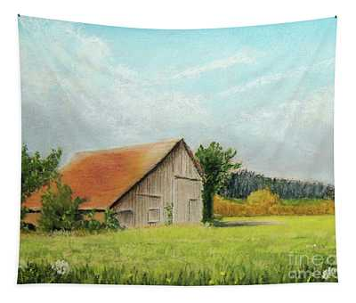 The Old Barn In The Meadow Tapestry