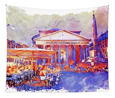 The Pantheon Rome Watercolor Streetscape Tapestry