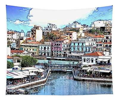 The Port Of Agios Niklaus On The Greek Island Of Crete - Dwp3776 Tapestry