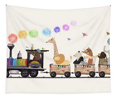 The Rainbow Train Tapestry