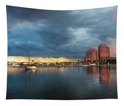 The Skyline Of West Palm Beach At Sunset Tapestry