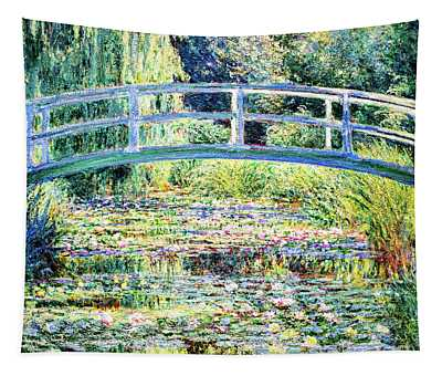 Tapestry featuring the painting The Water Lily Pond By Monet by Claude Monet