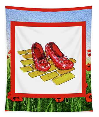 The Yellow Brick Road Poppies Field And Ruby Slippers Tapestry