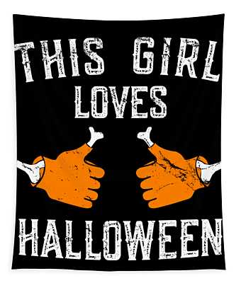 This Girl Loves Halloween Tapestry