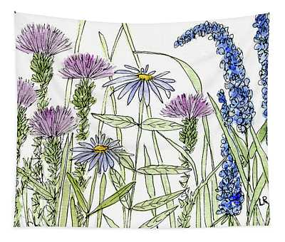 Thistle Asters Blue Flower Watercolor Wildflower Tapestry