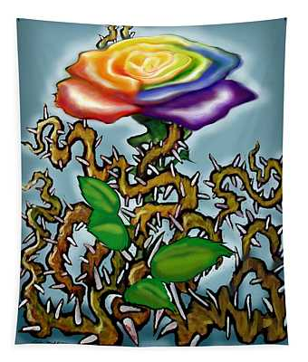 Thorns N Rainbow Rose Tapestry