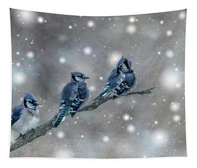 Three Blue Jays In The Snow Tapestry