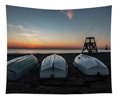 Three Boats At Sun Rise  Tapestry