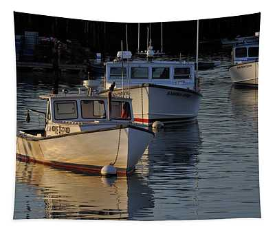 Three Boats In Maine Tapestry