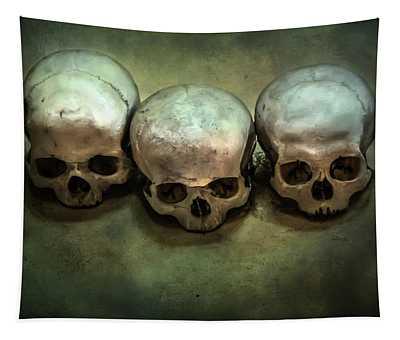 Three Human Skulls Tapestry