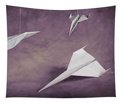 Three Paper Airplanes Tapestry