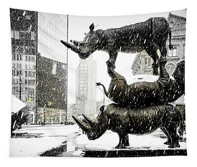Three Rhinoceri In New York  Tapestry