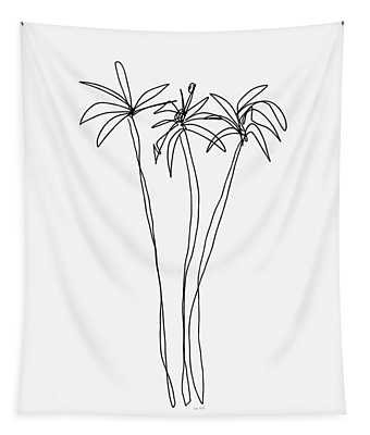 Three Tall Palm Trees- Art By Linda Woods Tapestry