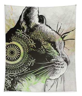 Tides Of Tomorrow - Lime - Mandala Cat Drawing Tapestry