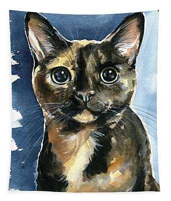 Tiffany Tortoiseshell Cat Painting Tapestry