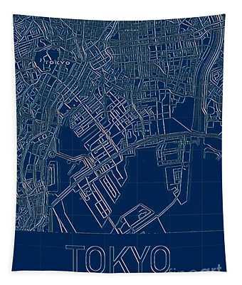 Tokyo Blueprint City Map Tapestry