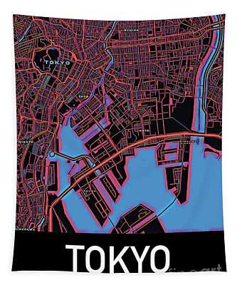 Tokyo City Map Tapestry