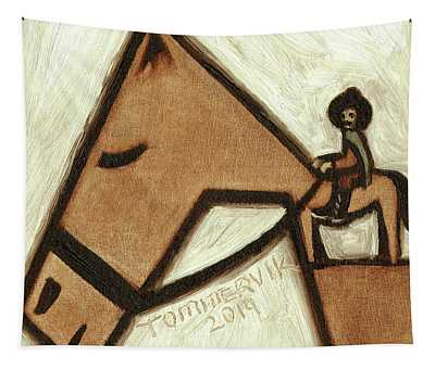 Tommervik Abstract Horse And Cowboy Art Print Tapestry