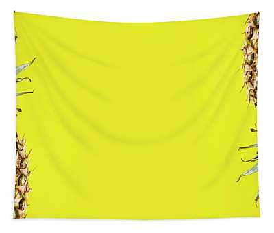 Top View Of Pineapple Border On Bright Yellow Background. Vivid  Tapestry