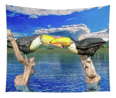 Toucans In Love  Tapestry