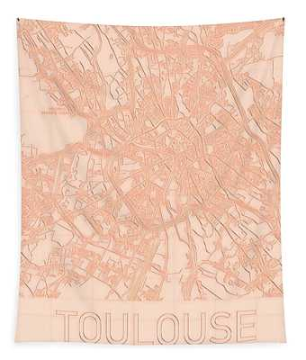 Toulouse Blueprint City Map Tapestry