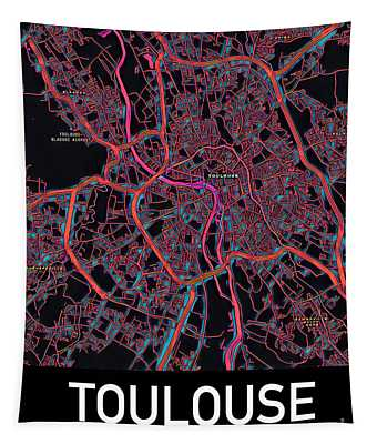 Toulouse City Map Tapestry