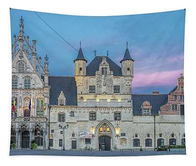 Town Hall Mechelen At Dusk Tapestry