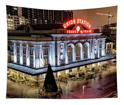 Travel By Train - Denver Union Station Tapestry