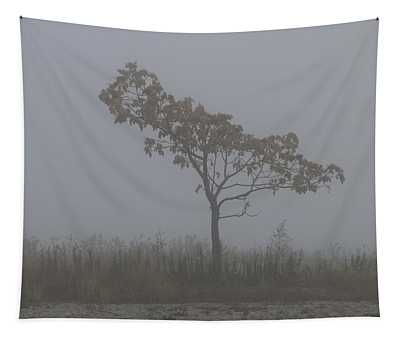 Tree In Fog Tapestry